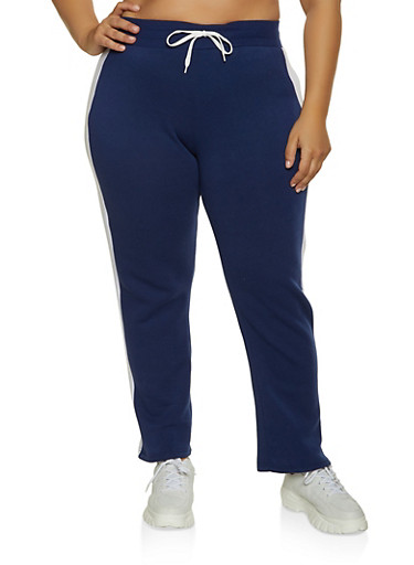 Plus Size Fleece Lined Side Stripe Sweatpants,NAVY,large