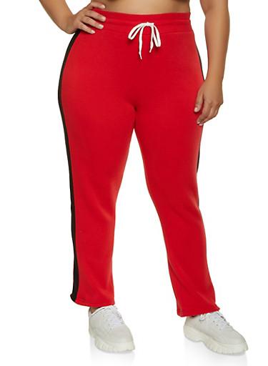 Plus Size Fleece Lined Side Stripe Sweatpants,RED,large
