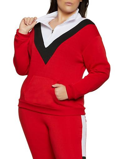 Plus Size Pullover Half Zip Sweatshirt,WHITE,large