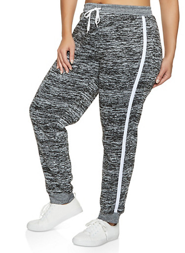 Plus Size Striped Side Fleece Lined Joggers,GRAY,large