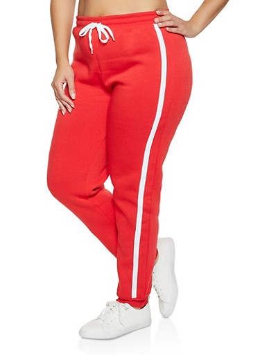 Plus Size Striped Side Fleece Lined Joggers,RED,large