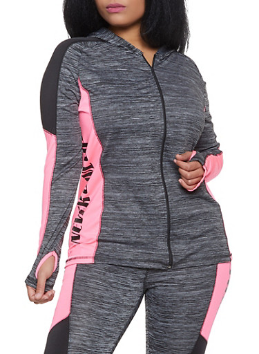 Plus Size Never Give Up Zip Front Active Top,GRAY,large