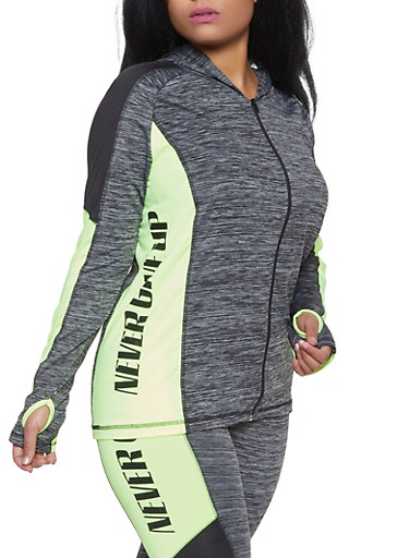 Plus Size Never Give Up Zip Front Active Top,LIME,large