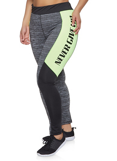 Plus Size Never Give Up Active Leggings,LIME,large