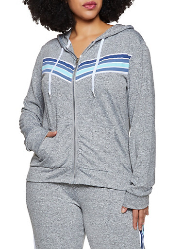 Plus Size Striped Detail Zip Sweatshirt,HEATHER,large
