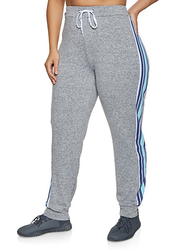 Plus Size Striped Detail Joggers,HEATHER,large