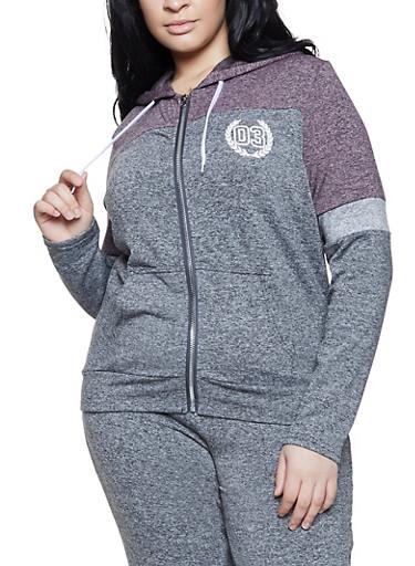 Plus Size 03 Graphic Color Block Sweatshirt,MAUVE,large