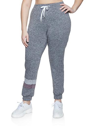 Plus Size Fleece Lined Sweatpants,MAUVE,large