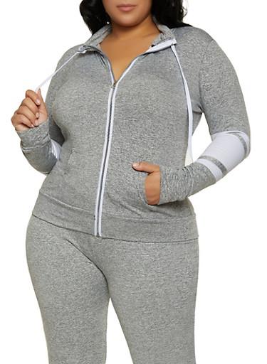 Plus Size Zip Color Block Sweatshirt,HEATHER,large