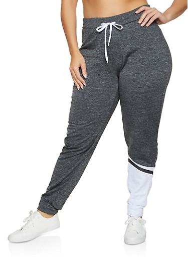 Plus Size Fleece Lined Color Block Detail Joggers,BLACK/WHITE,large