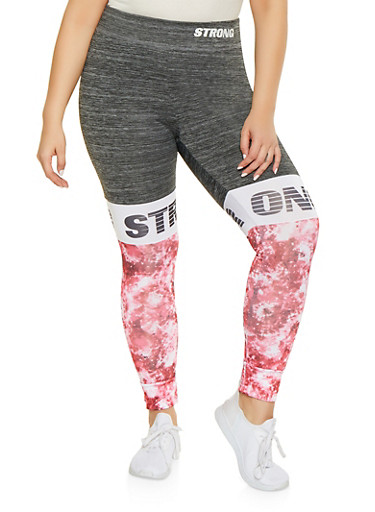 Plus Size Strong Graphic Activewear Leggings,CHARCOAL,large