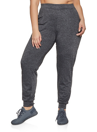 Plus Size Pintuck Joggers,BLACK,large