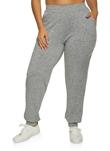 Plus Size Pintuck Joggers,HEATHER,large