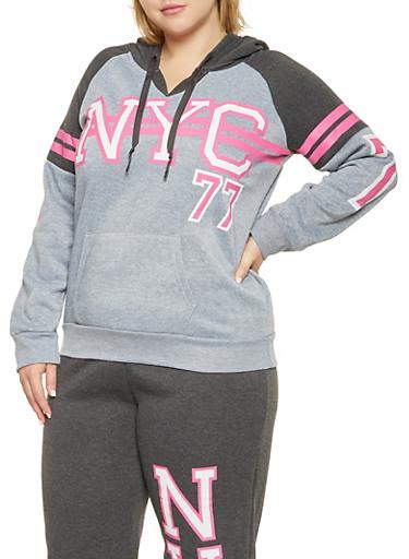 Plus Size NYC Graphic Hooded Sweatshirt,HEATHER,large