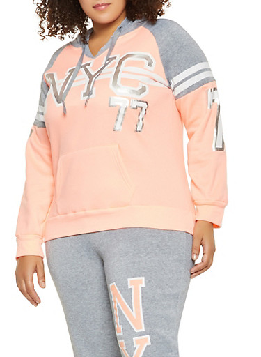 Plus Size NYC Graphic Hooded Sweatshirt,CORAL,large