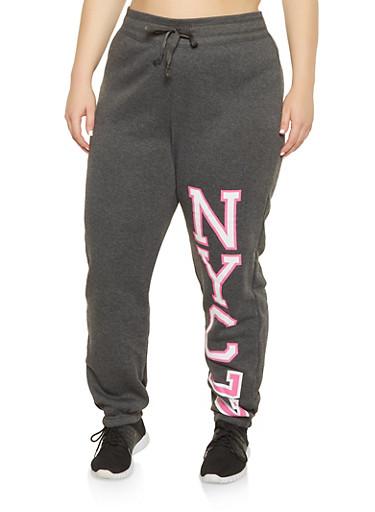 Plus Size NYC Graphic Sweatpants,HEATHER,large