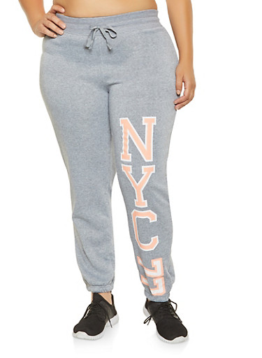 Plus Size NYC Graphic Sweatpants,CORAL,large