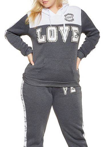 Plus Size Love Graphic Pullover Sweatshirt,CHARCOAL,large