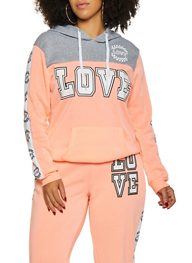 Plus Size Love Graphic Pullover Sweatshirt,CORAL,large