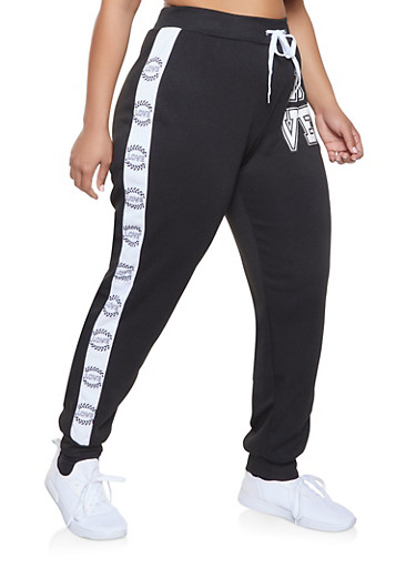 Plus Size Love Tape Sweatpants,BLACK,large