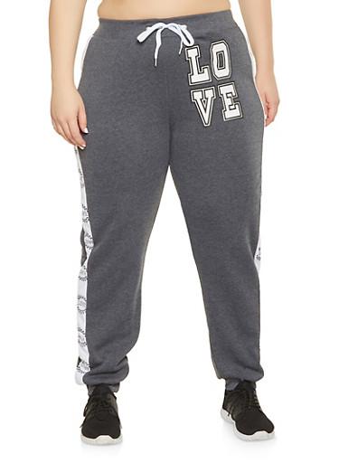Plus Size Love Graphic Sweatpants,CHARCOAL,large