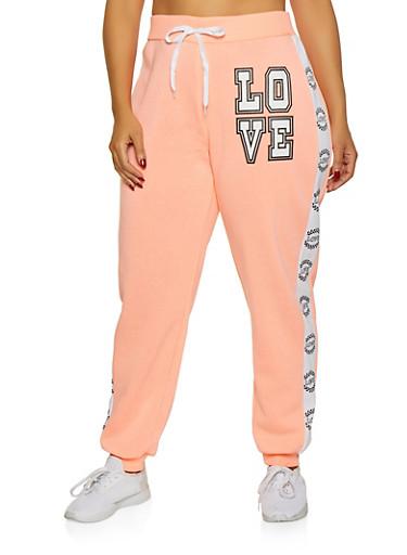 Plus Size Love Tape Sweatpants,CORAL,large
