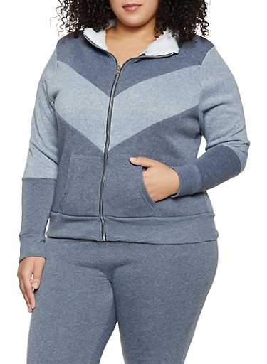 Plus Size Sherpa Lined Sweatshirt,CHARCOAL,large