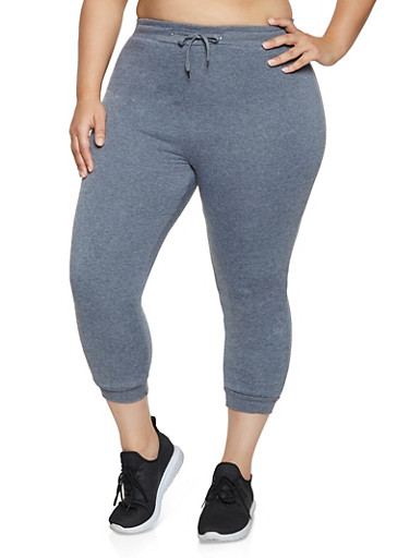 Plus Size Sherpa Lined Joggers,CHARCOAL,large