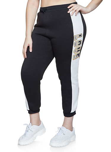 Plus Size Love Sherpa Lined Joggers,BLACK/WHITE,large