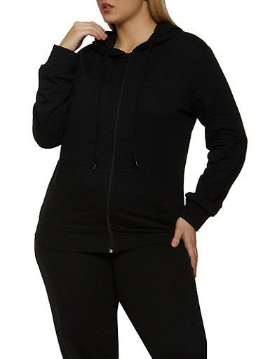 Plus Size Solid Zip Front Hooded Sweatshirt,BLACK,large