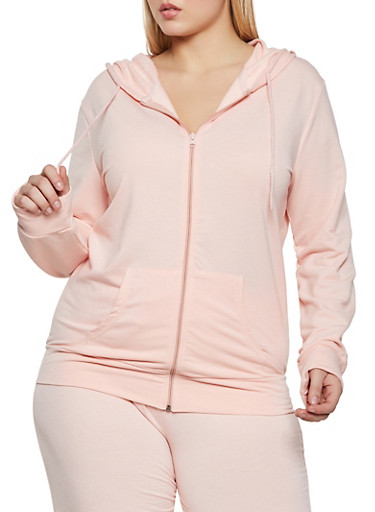 Plus Size Solid Zip Front Hooded Sweatshirt,CORAL,large