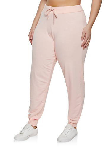 Plus Size Drawstring Joggers,CORAL,large
