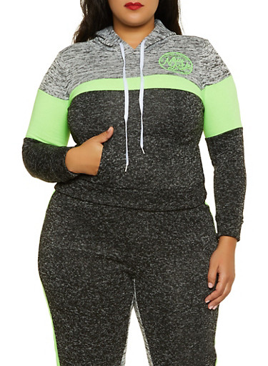 Plus Size Color Blocked New York Sweatshirt,LIME,large