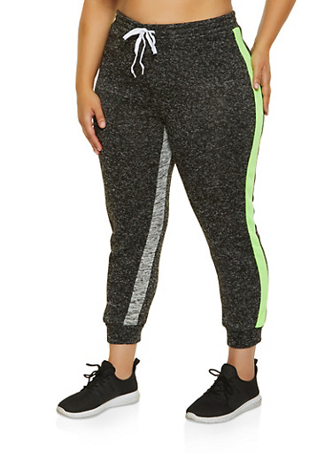 Plus Size Marled Striped Detail Joggers,LIME,large