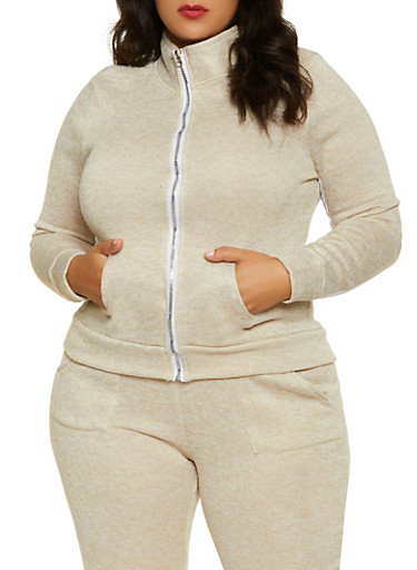 Plus Size Marled Zip Front Sweatshirt,OATMEAL,large