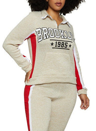 Plus Size Brooklyn Zip Neck Pullover Sweatshirt,OATMEAL,large