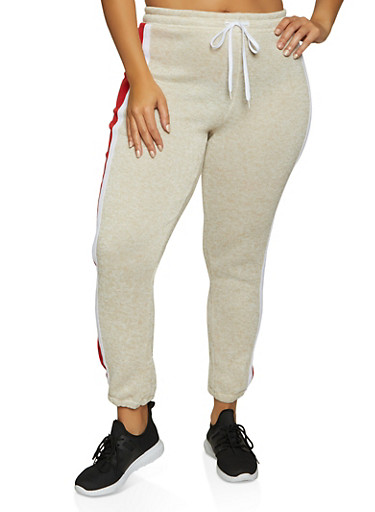 Plus Size Color Block Knit Joggers,OATMEAL,large