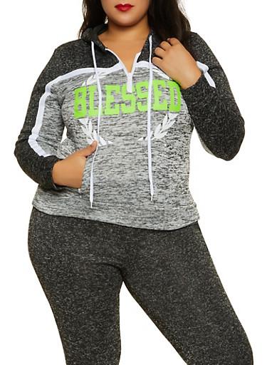 Plus Size Blessed Color Block Sweatshirt,CHARCOAL,large