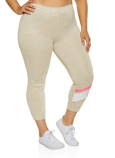 Plus Size Marled Stripe Detail Joggers,OATMEAL,large