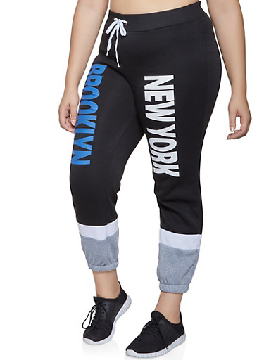 Plus Size New York Graphic Sweatpants,BLACK,large