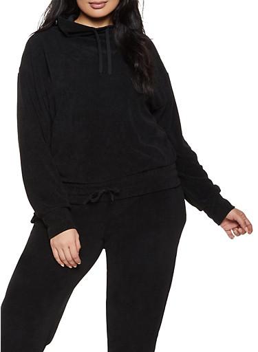 Plus Size Corduroy Drawstring Hem Sweatshirt,BLACK,large
