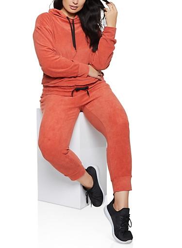 Plus Size Corduroy Drawstring Hem Sweatshirt,RED,large