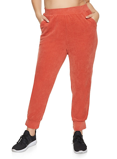 Plus Size Pull On Corduroy Joggers,RED,large