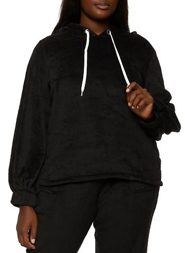 Plus Size Plush Pullover Sweatshirt,BLACK,large