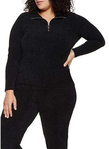 Plus Size Corduroy Zip Neck Top,BLACK,large