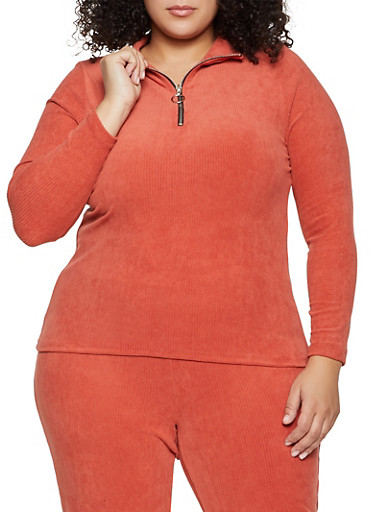 Plus Size Corduroy Zip Neck Top,RUST,large