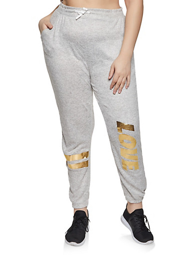 Plus Size Love Foil Knit Joggers,HEATHER,large