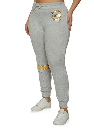 Plus Size Love Graphic Knit Joggers,HEATHER,large
