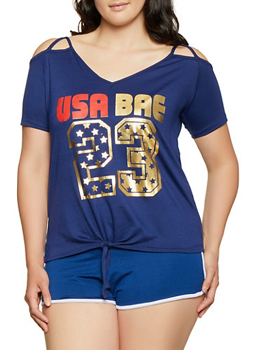 Plus Size USA Bae Cold Shoulder Top,NAVY,large