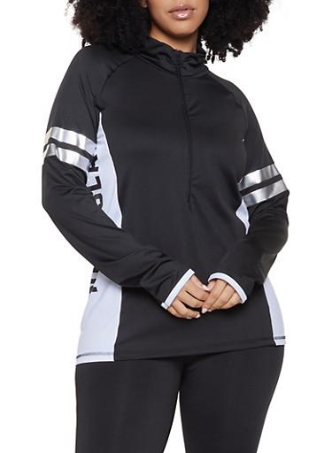 Plus Size Namaslay Active Zip Top,BLACK,large